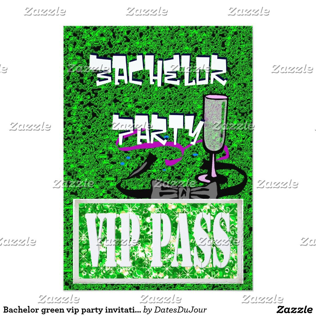 Bachelor green vip party invitation | Bachelor Party Invitations ...