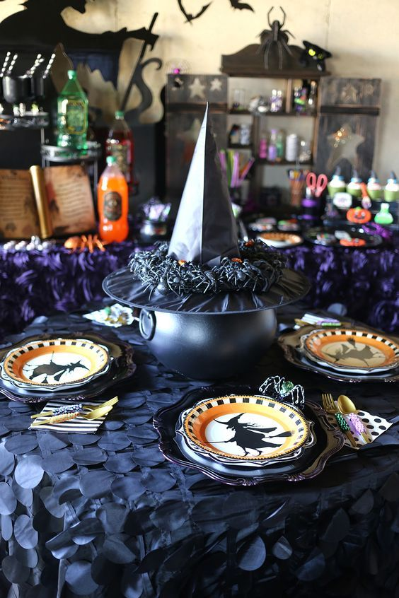 witches inspired table decor with printed plates
