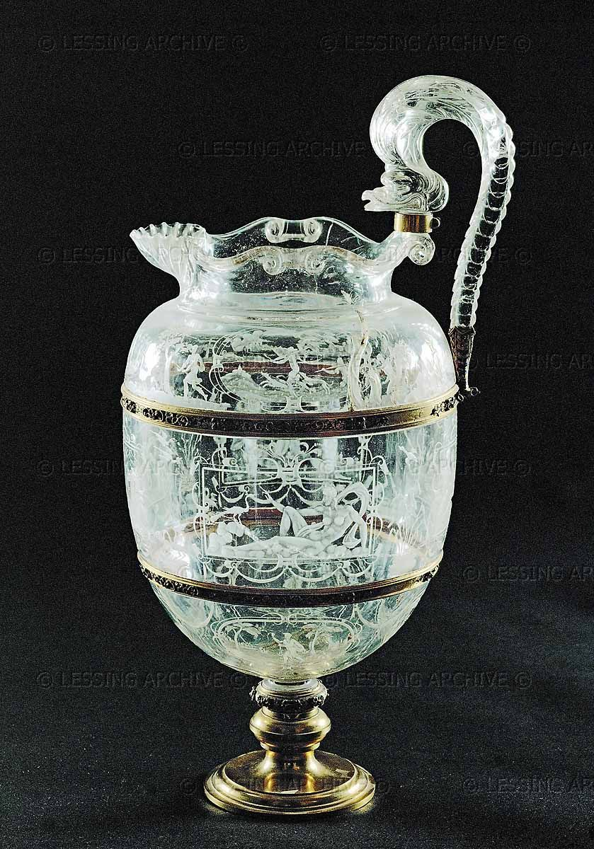 RENAISSANCE VESSEL  Jug,engraved rock-crystal. Probably from Milan, mid-16th.  Palazzo Pitti,Museo degli Argenti, Florence, Italy