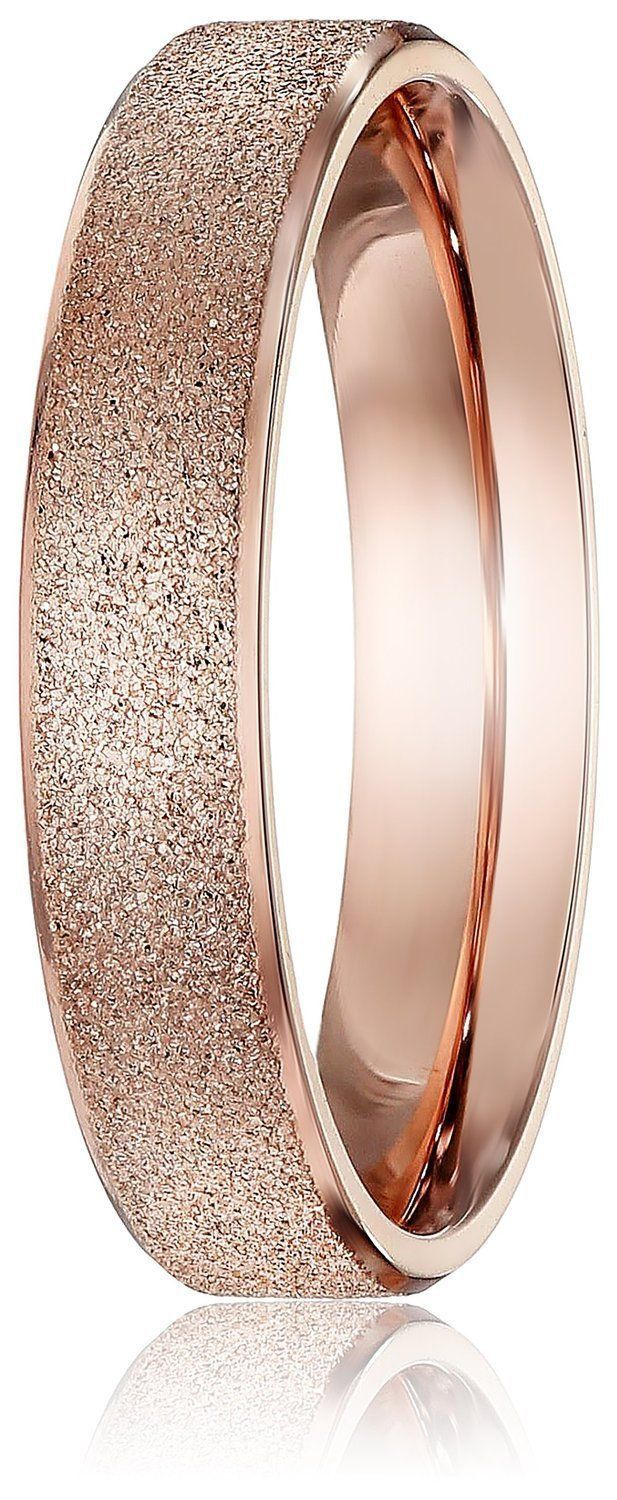 5765fd17810 Amazon.com  LOVE Beauties Brand New 4mm Women s Titanium Rose Gold Wedding  Band Ring (Size Selectable)  Jewelry
