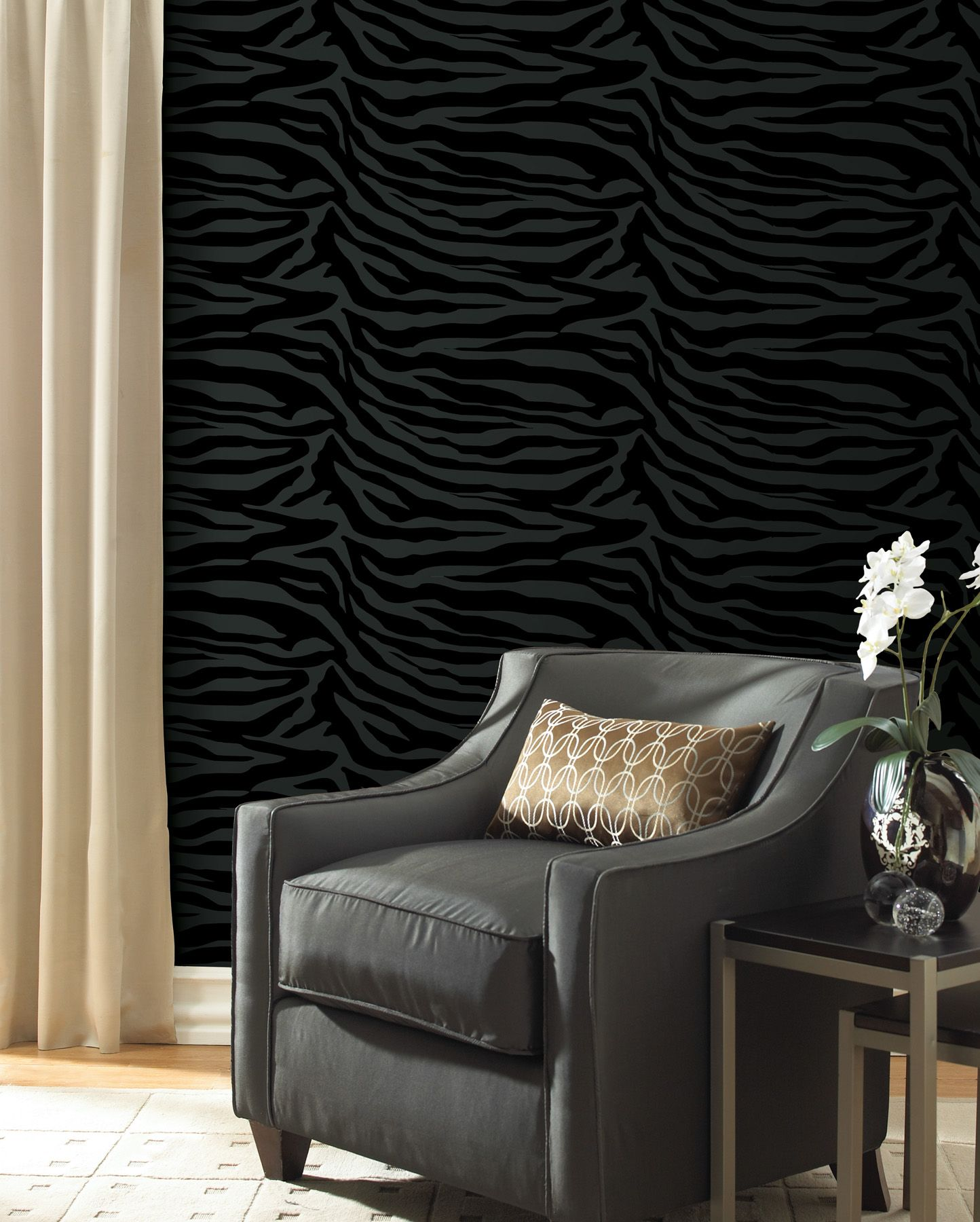 Dramatic Black Living Room Feature Wall With A Chic Zebra Print Wallpaper  Modern Decor Idea