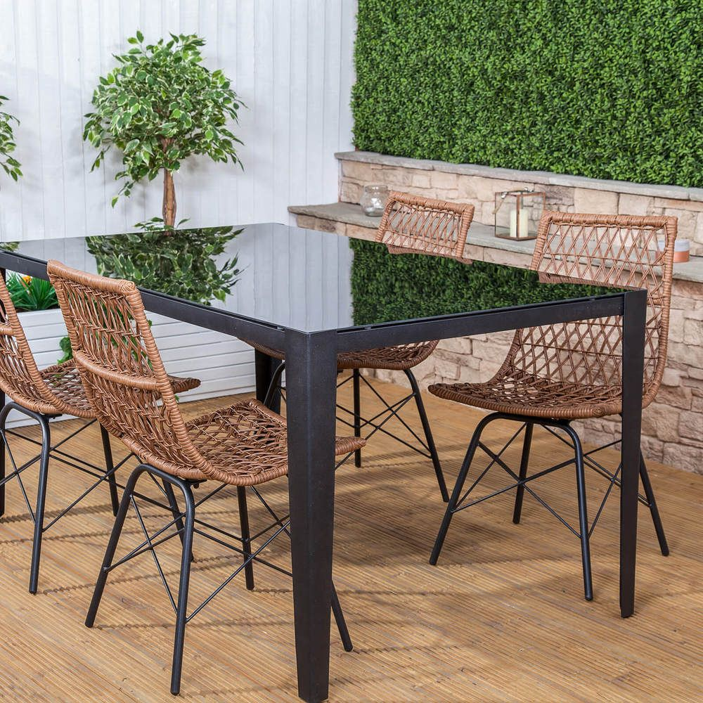 Dining Table And Chairs Set Patio Outdoor Indoor Rattan Wicker ...