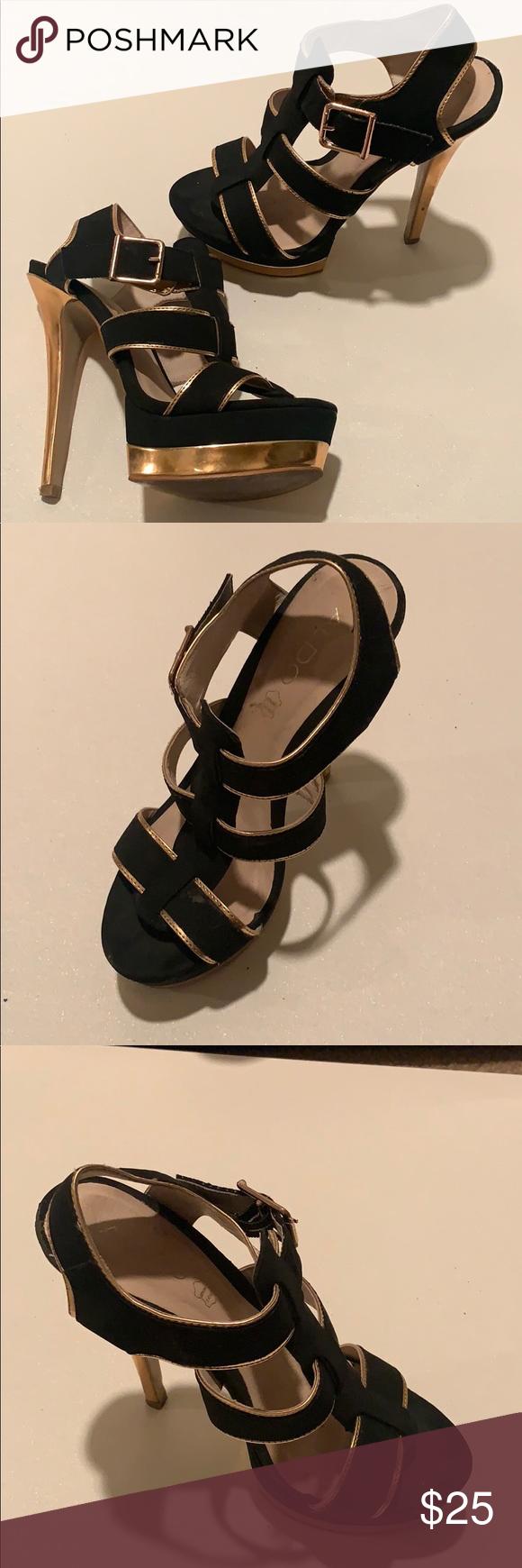 277873060bd ALDO Black and Rose Gold Strappy Platform Heels ALDO strappy heeled ...