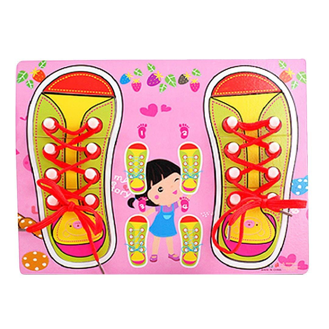YouN Children Wooden Lacing Shoes Toddler Kids Teaching Tie Shoelaces Toys