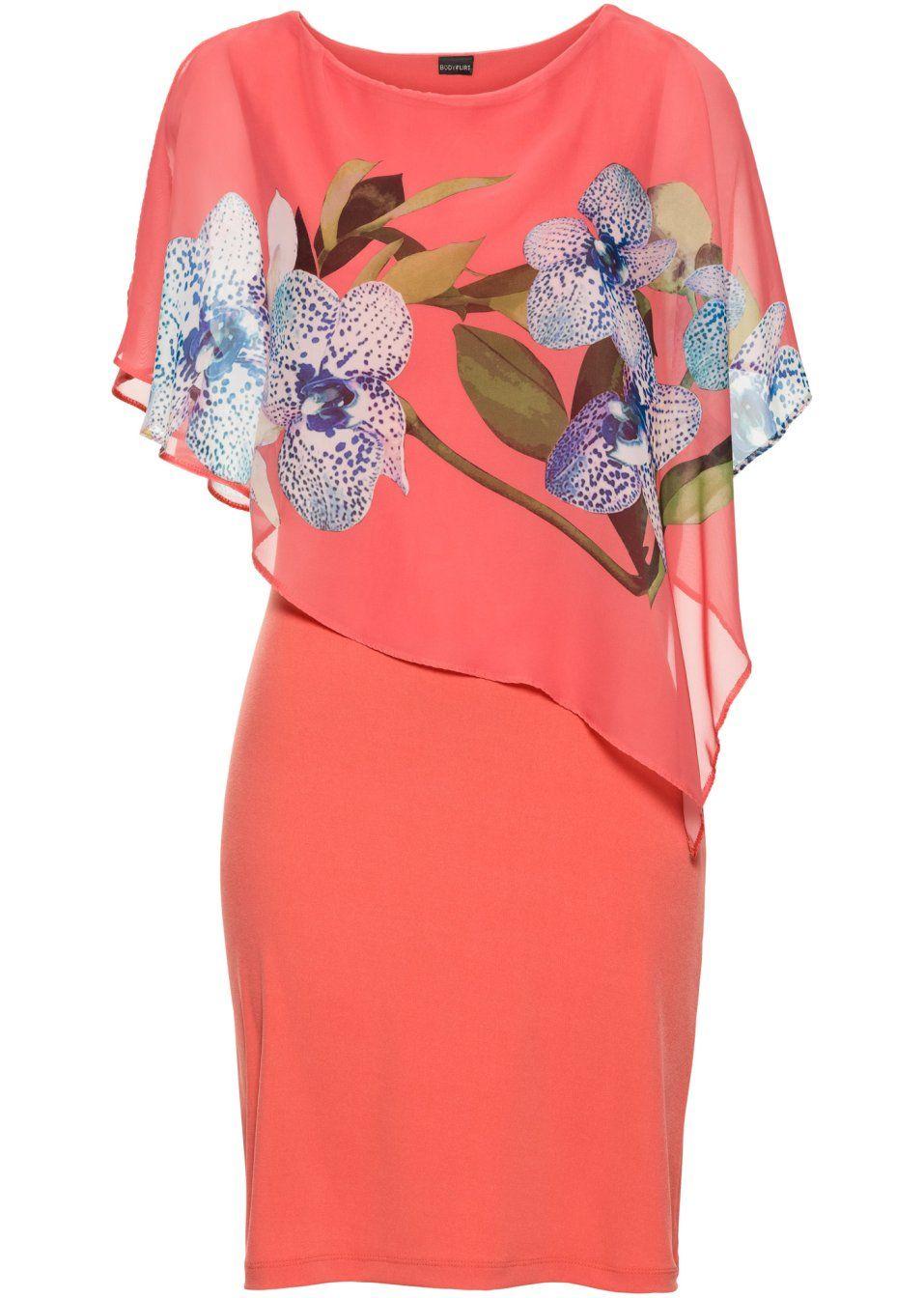 Jerseykleid mit Chiffon-Überwurf  Kleiderstile, Chiffon, Kleider