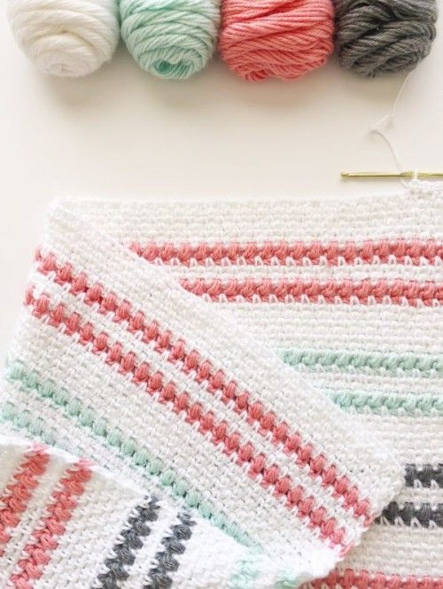 Crochet Moss & Puff Stitch Baby Blanket - Free Pattern (Beautiful ...
