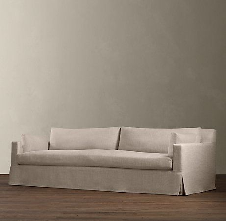 Restoration Hardware Sectional Sofa Linen Bed Orange County Belgian Track Arm Slipcovered By In S Pacious Proportions Encourage Long Term Occupancy Indeed