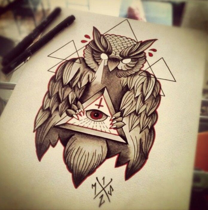 Owl freemason tattoo