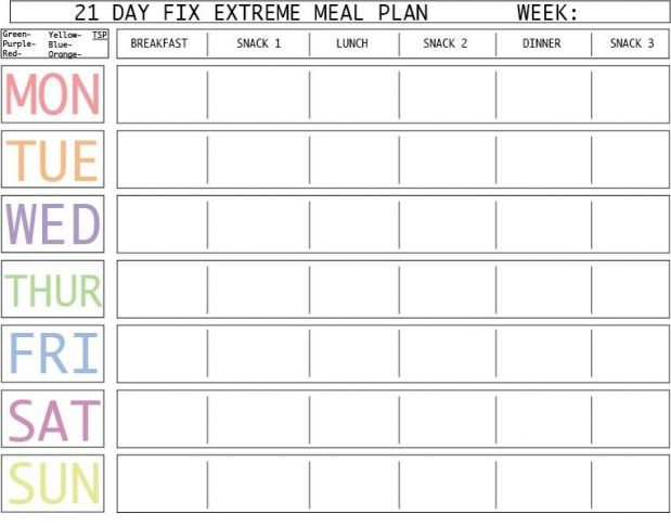Day Fix Extreme Meal Plan Template   Day Fix