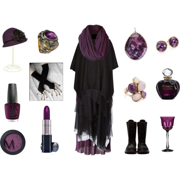 Plum Witch by maggiehemlock on Polyvore featuring Donna Karan, Chicwish, Rick Owens, Marco Bicego, Queensbee, SHIMLA, REGENCY, Kathy Jeanne, Fashion Fair and MAKE UP STORE