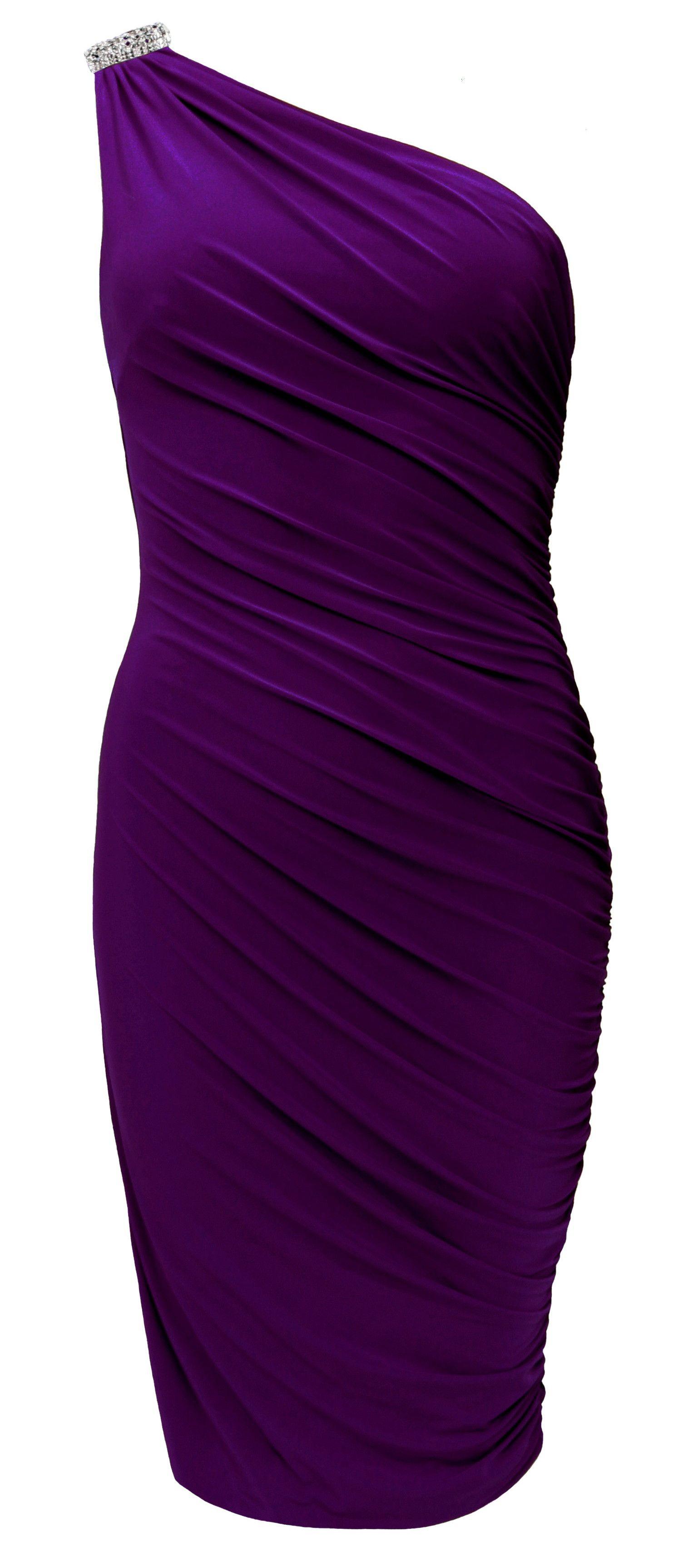 Purple one shoulder diamante dress womensfashion blacktie