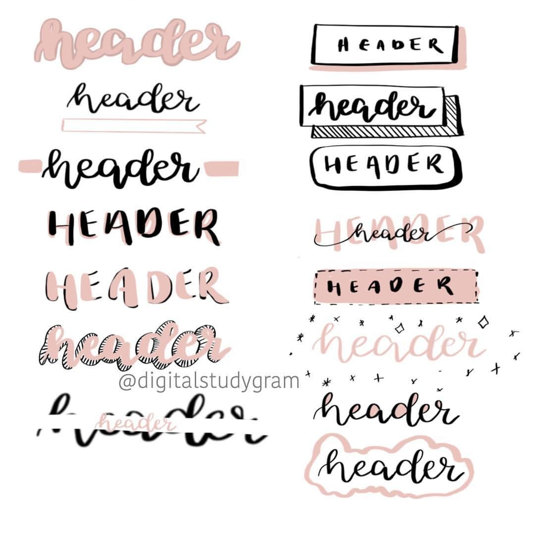 Notes headers #bulletjournal