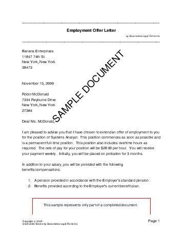 employment offer letter india legal templates agreements consent - employment offer letter