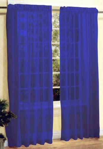 Amazon Com 2 Pc Sheer Voile Window Curtain Panel Set Royal Blue