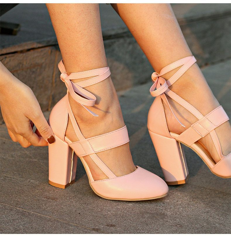 Ankle Strap High Heels Women Sandals Thick High Heel Party Wedding Summer Lady Shoes,Apricot,6.5