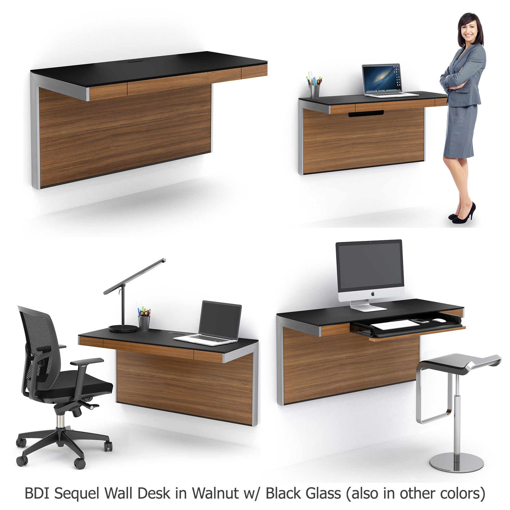 Bdi sequel wall desk in natural walnut w black glass desk