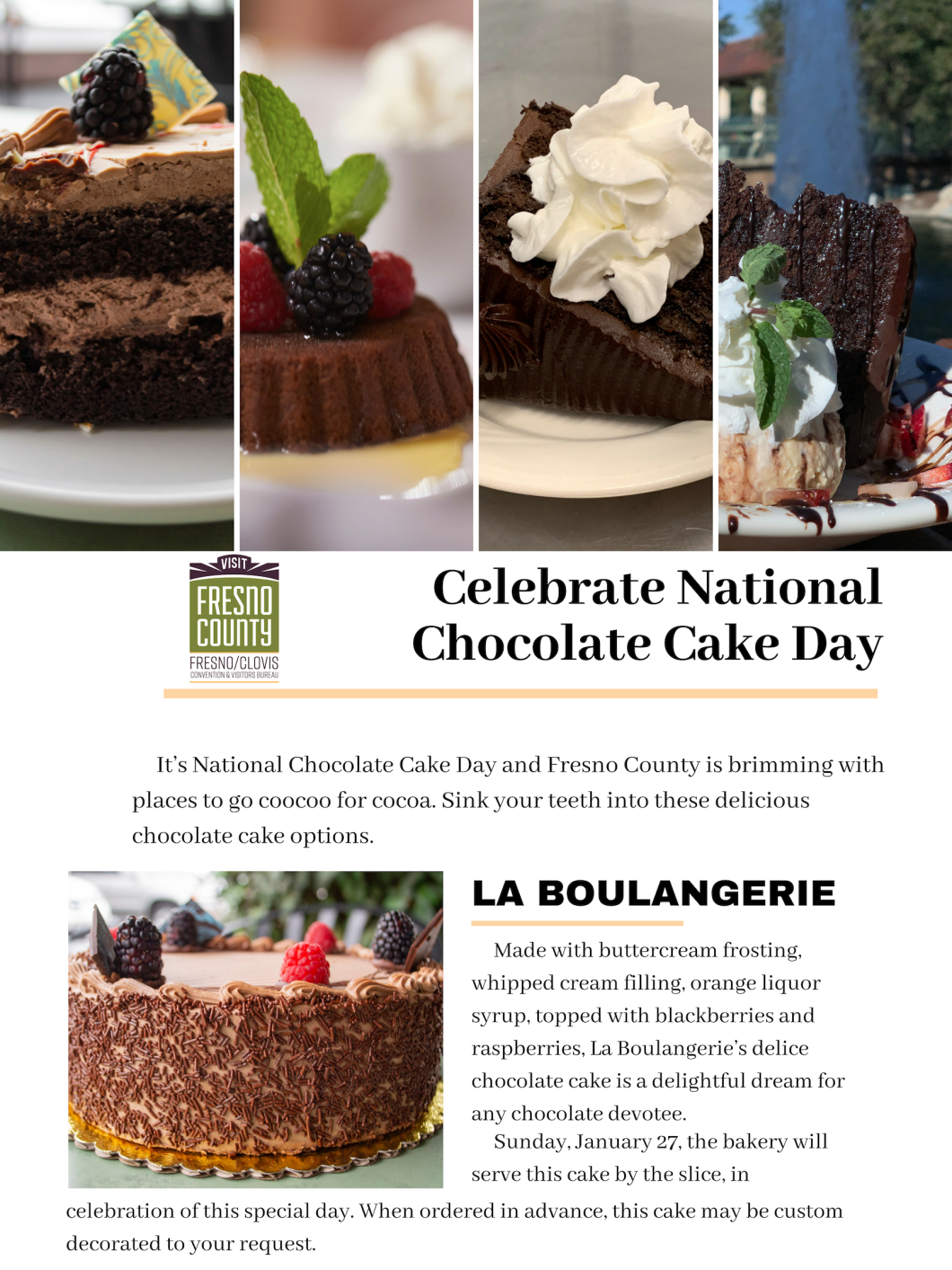 Where To Celebrate National Chocolate Cake Day In Fresno County Jan 27 National Chocolate Cake Day Chocolate Cake Cake Day