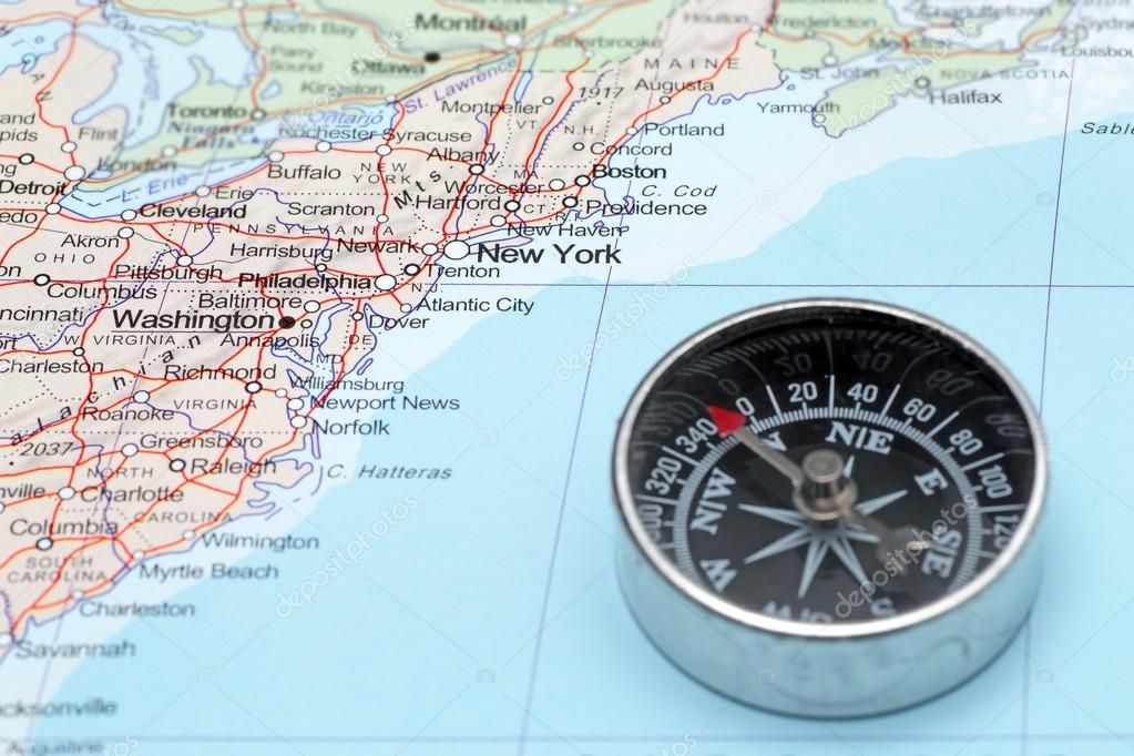 Travel destination New York United States, map with
