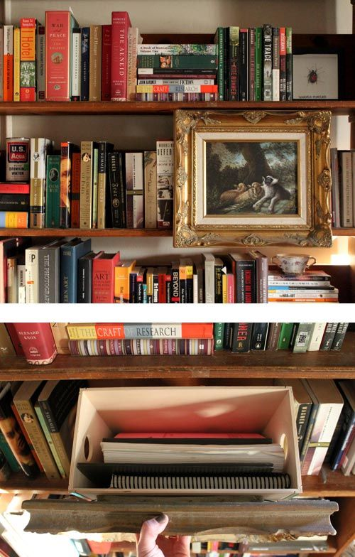 A secret storage box built into a bookshelf. Would you try this?