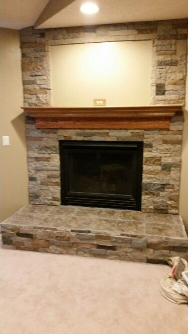 Finished Airstone And Ceramic Tile Fireplace Airstone