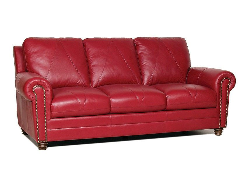 Luke Leather Weston Italian Leather Sofa Cherry Red