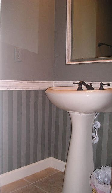 Striped Powder Room Powder Room Decor Master Bathroom Decor Chair Rail