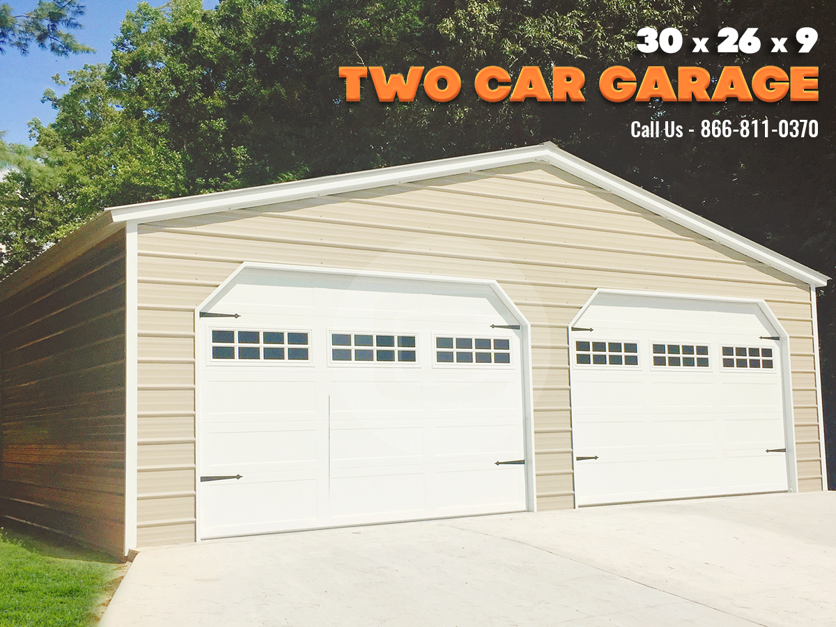 2 Car Garage Metal Garage For 2 Car Parking 30x26 Garage Door Styles Garage Garage Door Design
