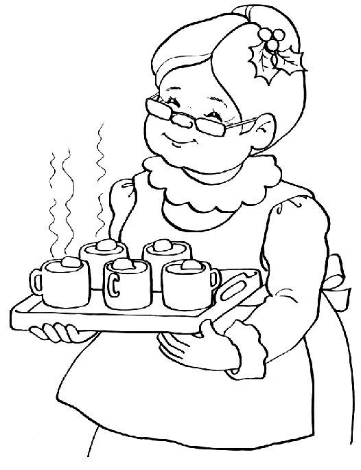 Mrs Santa Claus Coloring Pages Christmas Embroidery