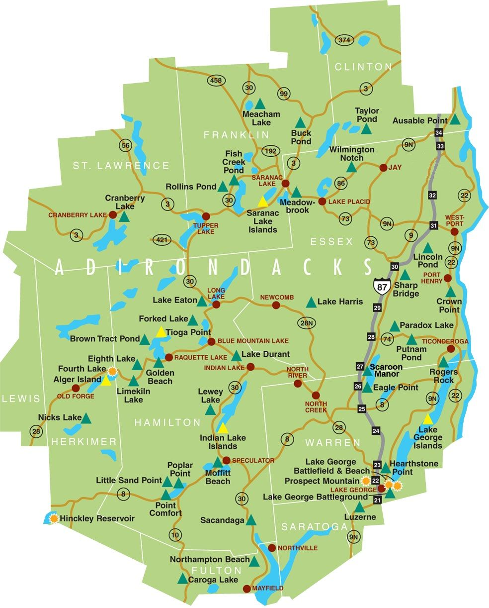 Map Of Adirondacks Large Map of the Adirondacks | Adirondacks, New York State in 2019