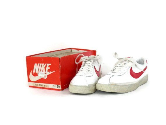 new arrivals 30d26 b4411 Vintage OG 80s Nike Bruin White Leather and Red Swoosh Sneakers Mens sz 10  Marty McFly Back to the F