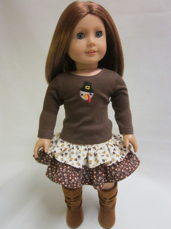 Fall Thanksgiving Harvest Handmade Skirt 18 in Doll Clothes Fit American Girl