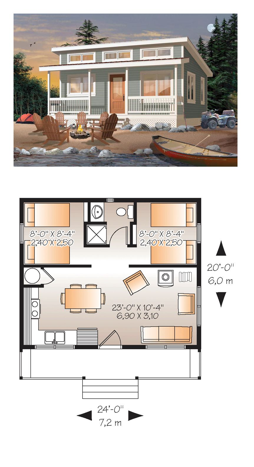Tiny house plan 76166 total living area 480 sq ft 2 for Two bedroom tiny home