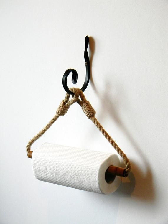 Photo of Paper Towel Holder..Bamboo Roll Holder..Jute Rope Nautical Decor..Wrought iron Hook..Toilet Paper Holder..