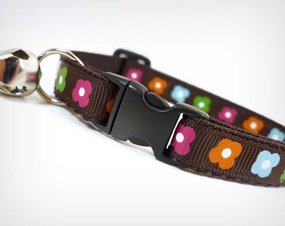 Cat Collar  Flower Power  Brown w/ Fun Retro Flowers by MadeByCleo, $12.00
