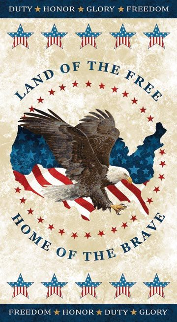 USA Eagle Panel Stonehenge Land of the Free by LauriesFabricHouse
