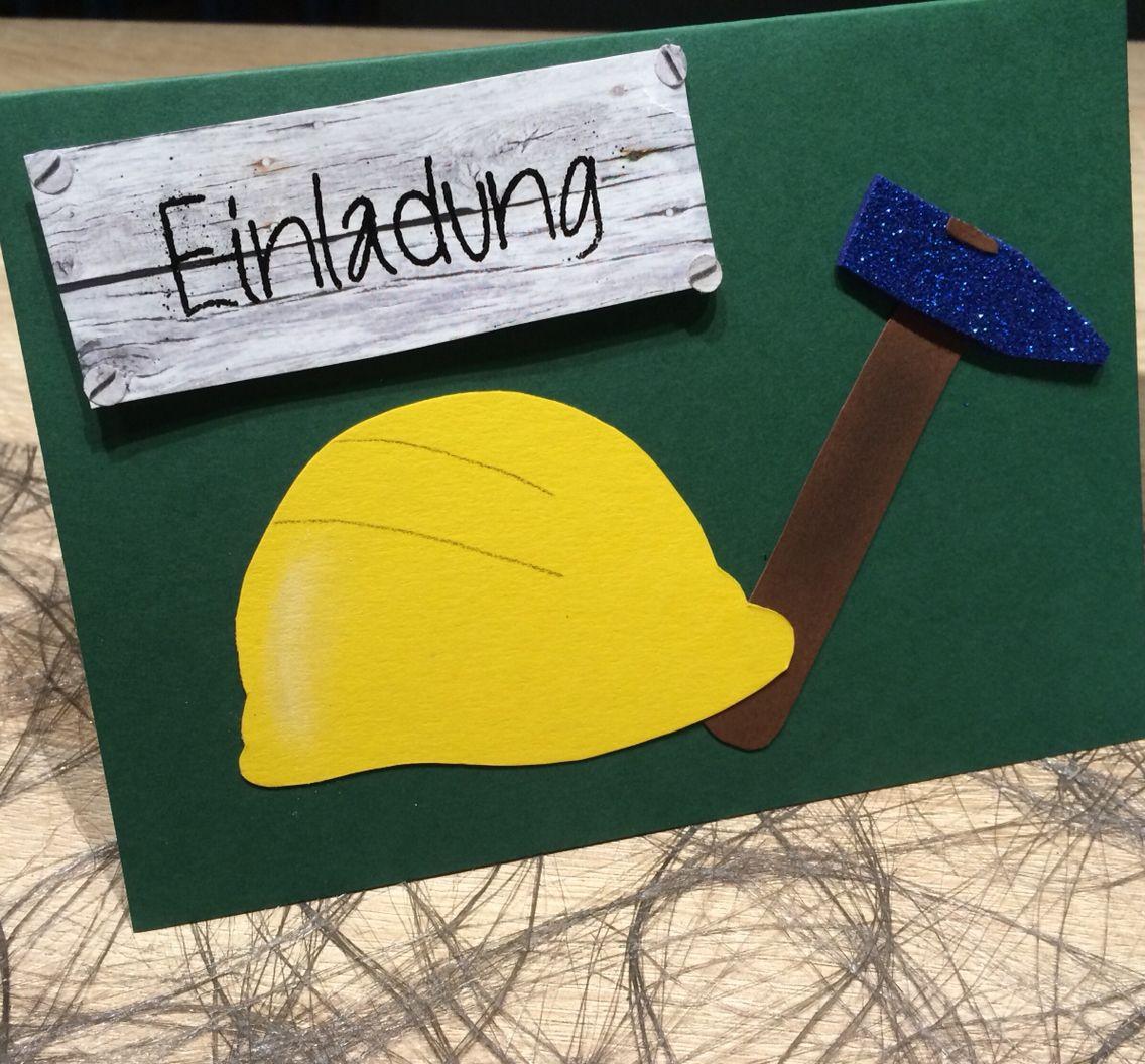 Einladungskarte zur baustellenparty take tanja 39 s kreative ecke pinterest einladung - Ideen zur geburtstagsfeier ...