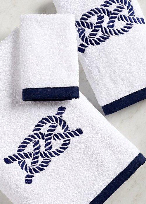 Bias Trim Embroidered Nautical Knot Towel Set Towel Set