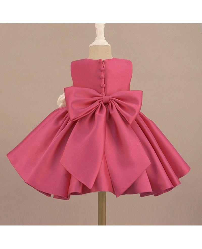 9b0e74808b8 Fuchsia Satin Classic Flower Girl Dress Elegant With Flowers And Bow ...