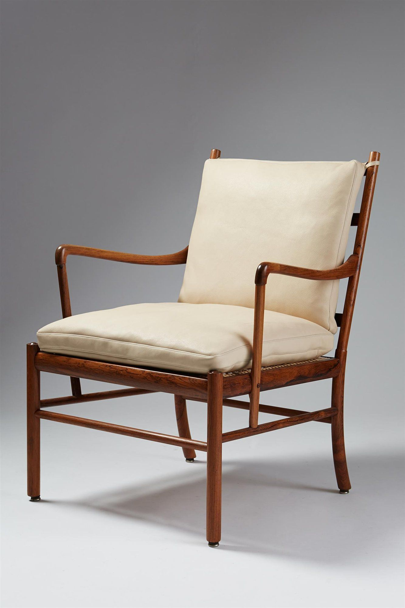Ole wanscher for p jeppesen leather rosewood cane armchair