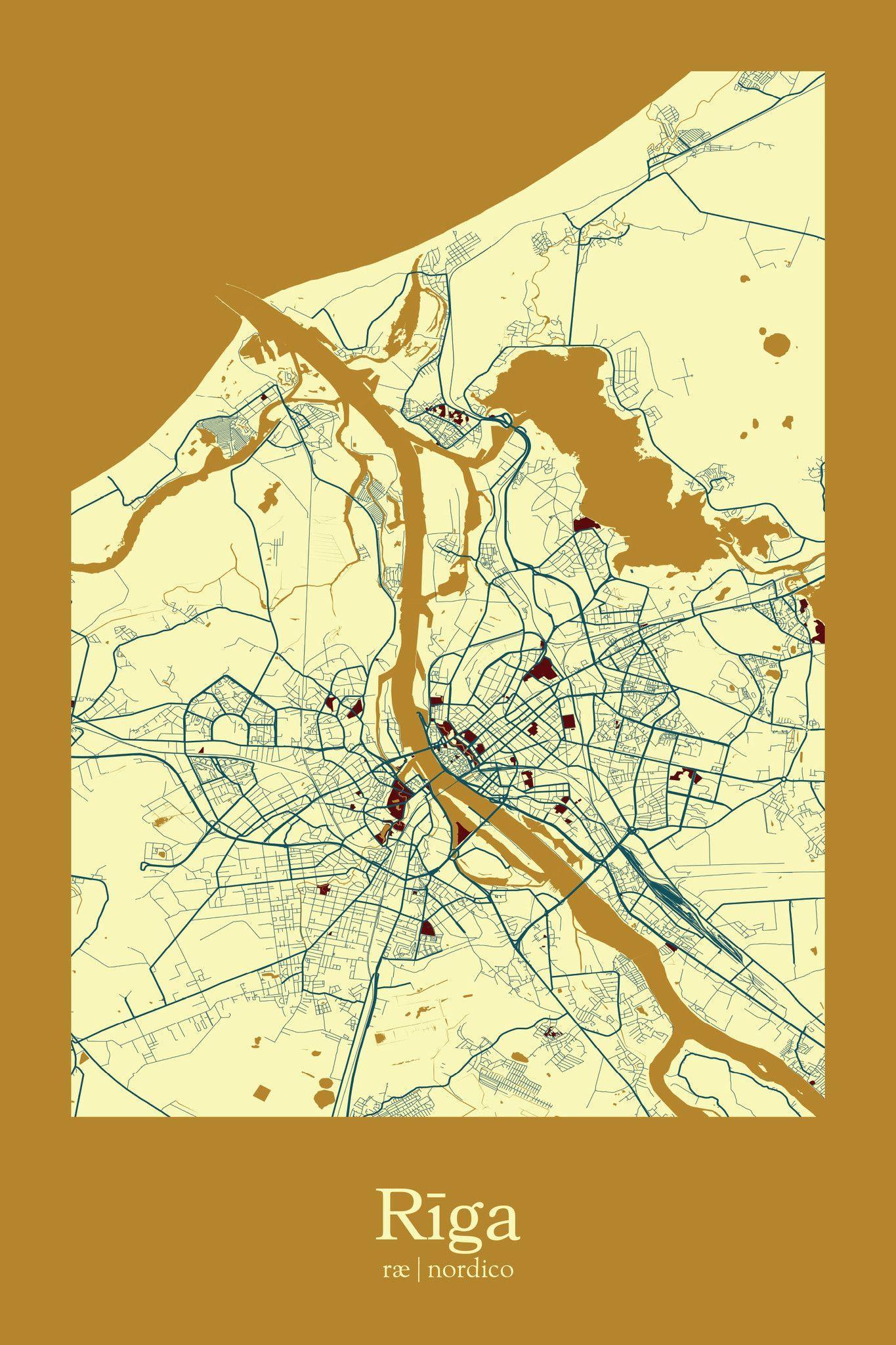 Riga Latvia Map Print Map prints Pinterest Riga latvia