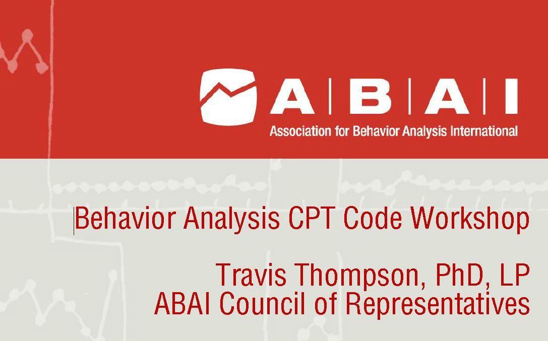 2014 Behavior Analysis CPT Code Travis Thompson