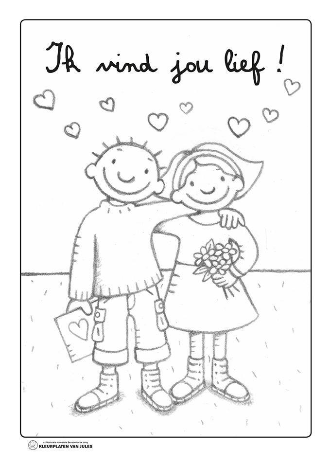 Kleurplaten Lentekriebels.Jules Ik Vind Jou Lief Lentekriebels School Themes Valentine