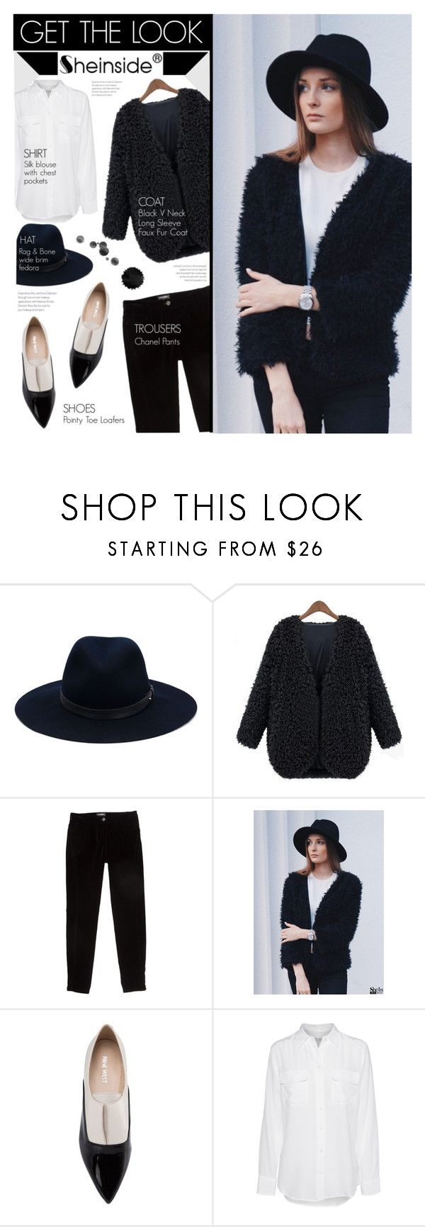 """""""SheIn Contest"""" by stylect ❤ liked on Polyvore featuring rag & bone, Chanel, Nine West and Equipment"""