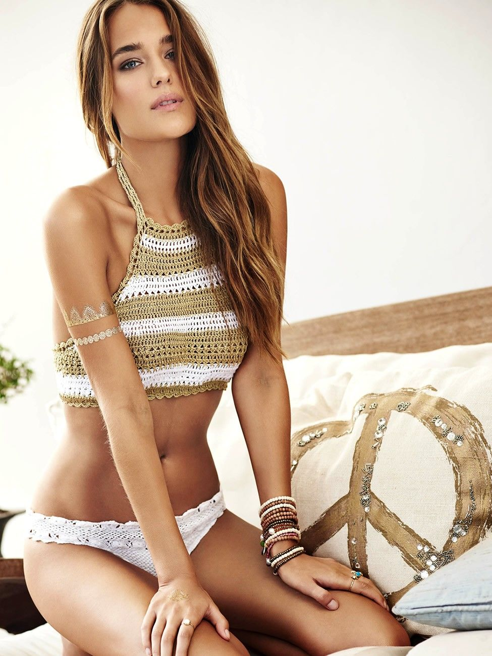 d03cabbcda From the PilyQ 2015 Bikini Collection  Lux Crochet bikini (LUX-183H-LUX-283).  Eye-catching Blair halter bikini top has crochet detailing and removable ...