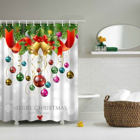 Bath Decor Waterproof Polyester Merry Christmas Shower Curtain - COLORFUL L