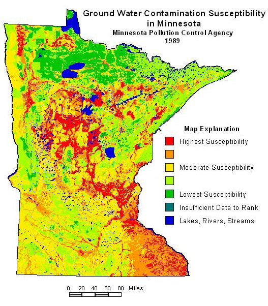Ground Water Contamination Susceptibility In Minnesota Map Via - Groundwater oil contamination us map