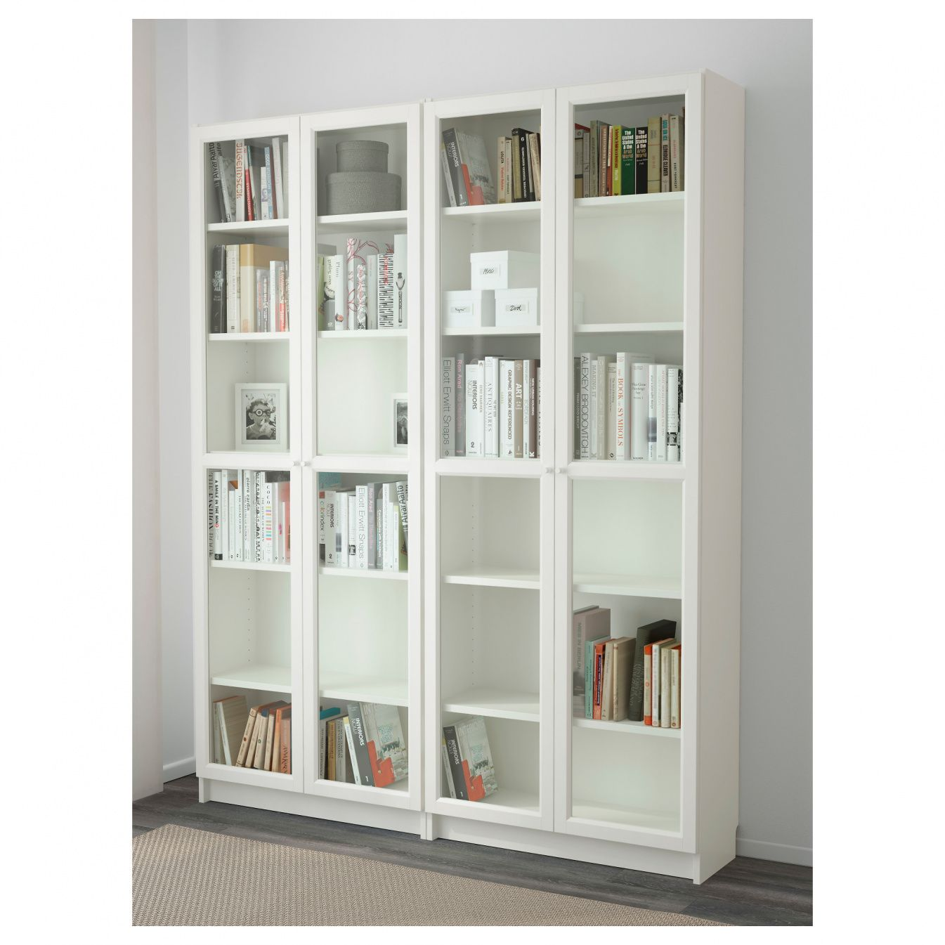 Ikea Billy Bookcase With Glass Doors Rustic Home Office  # Muebles Billy Ikea