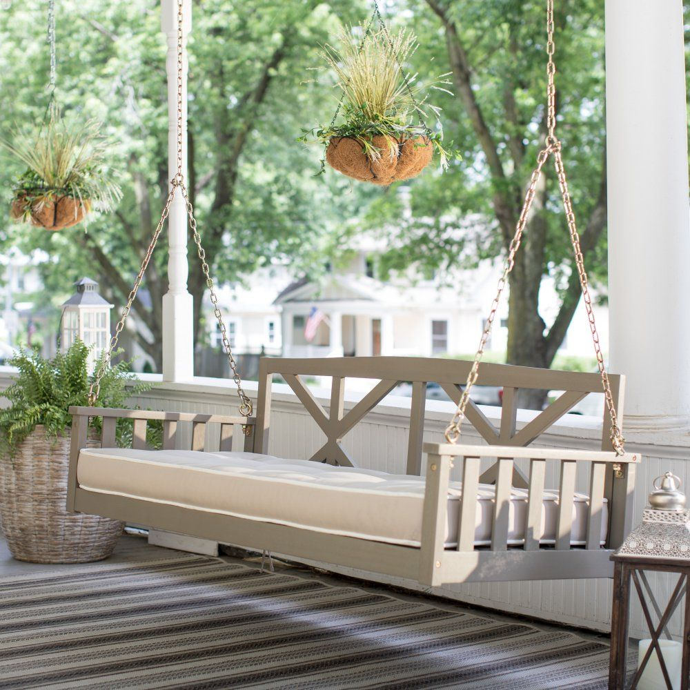 Belham living cottonwood deep seating in porch swing bed with