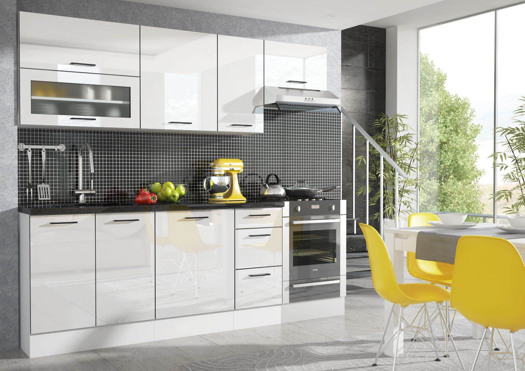 Our modern luxury look white high gloss kitchen range Roxi