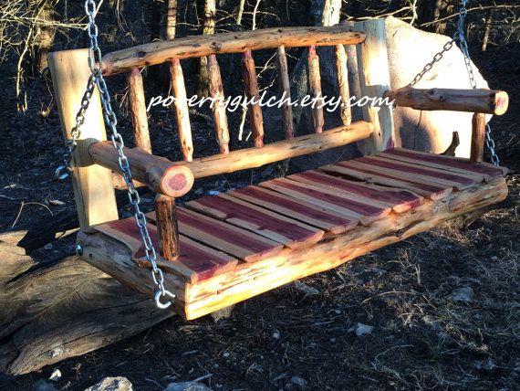 4 Rustic Cedar Log Spindle Back Porch Swing By Povertygulch Rustic Porch Swing Rustic Log Furniture
